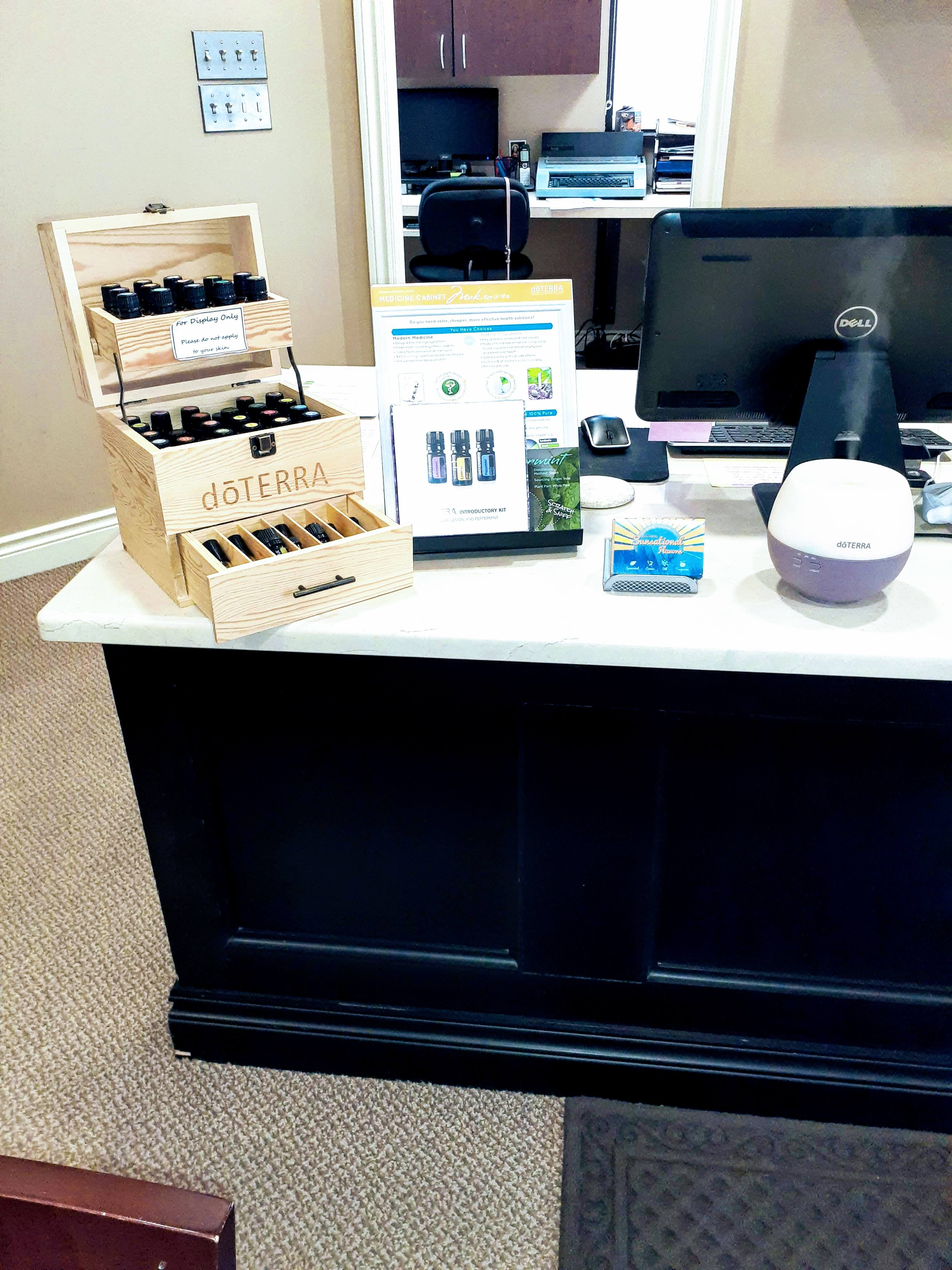 front desk with doterra essential oils on display